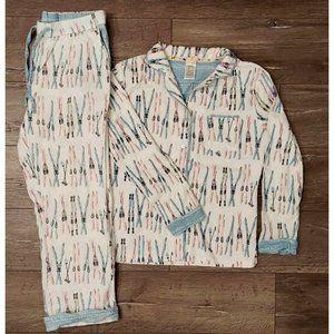 Munki Munki Ladies Medium Flannel Pajama Set Snow